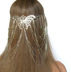 Arwen Lord Of The Rings Hair Arwen headdress circlet - ly. Butterfly Fashion, Butterfly Jewelry, Butterfly Hair, Head Jewelry, Hair Jewellery, Head Crown, Butterfly Wedding, Circlet, Lord Of The Rings