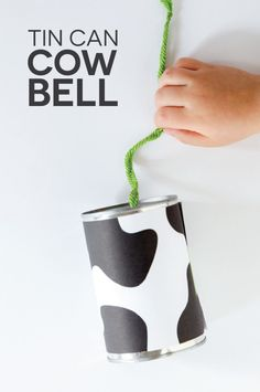 Tin Can Cow Bell Tutorial. 8 kids craft projects from recycled materials. Craft Projects For Kids, Fun Crafts For Kids, Toddler Crafts, Preschool Crafts, Craft Ideas, Art Projects, Cowboy Crafts, Western Crafts, Farm Theme Crafts