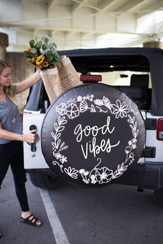 Good Vibes Quote Floral Wreath Tire Cover-The Tire Cover Shop Original Design-Whether you're cruising around town or getting away for the weekend, make your mar