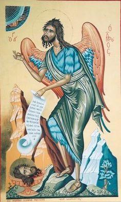 Religious icon of Saint John the forerunner, bird of desert.