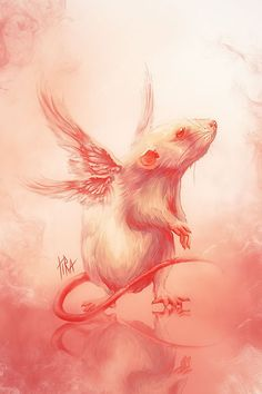Conceptual Illustrations by Tira-Owl - Awww Rat Angel :) I miss my two pet rats so much - often they develop tumors very young as a result of being experimented on in Labs - even in pet rats the toxins run through their genetics and they don't stand a chance at a full life R.I.P. Sniffles xxx R.I.P. Jude xxx