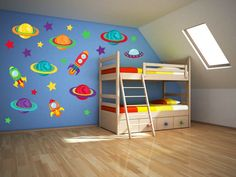 Space Wall Art Outer Space Nursery Space Wall by YendoPrint