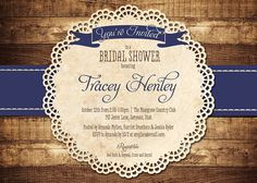 Rustic Bridal Shower Invitation Navy Blue Wood Lace Baby Shower Rustic Wedding Invitation DIY Digital or Printed - Tracey Style.