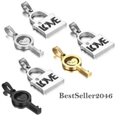 His and Hers Stainless Steel LOVE Lock and Key Heart Pendant Couples Necklaces #Unbranded #Pendant