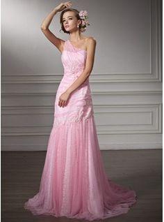 Trumpet/Mermaid One-Shoulder Chapel Train Satin Tulle Wedding Dress With Ruffle Lace Beading (002011380) - JJsHouse