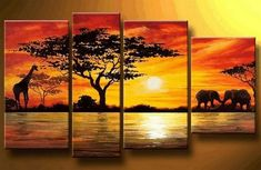 Home Decoration African Elephant Painting Wall Decor Giraffe Sunset Landscape Canvas Painting Multi Panel Handpainted Set(China (Mainland)) Canvas Painting Landscape, Large Painting, Hand Painting Art, Painting Canvas, Painting Walls, Woman Painting, Buy Paintings Online, Online Painting, Buy Art Online