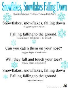movement activities/games: catchy song about snow that all the kids can sing together with the teachers, after the song they can talk about snow and what its like and how snowflakes are all different and no two look alike. Snow Activities, Movement Activities, Winter Activities For Toddlers, Music Activities, Therapy Activities, Circle Time Songs, Preschool Music, Winter Songs For Preschool, Dinosaurs Preschool