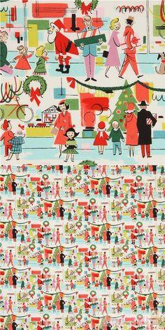 """fabric with people buying gifts, Xmas trees, Santa, decorations etc., Material: 100% cotton, Fabric Type: smooth cotton fabric, Pattern Repeat: ca. 15cm (5.9"""") #Cotton #People #Christmas #USAFabrics Kawaii, Alexander Henry Fabrics, Santa Decorations, Christmas Fabric, Xmas Tree, Christmas Shopping, Fabric Patterns, Bunt, Cotton Fabric"""