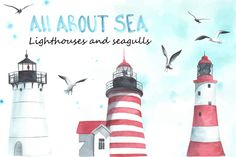 Lighthouses and seagulls. Watercolor by Bonitas on Creative Market