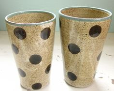 HEY?  LOOK AT THESE PINT GLASSES~! Pair of Polka Dotted Tumblers -16 oz @JDWolfePottery #ceramics #pottery #polkadots #dots #vase #cup #mug #handmade #brigteam $40