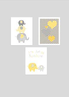 Elephants printable nursery art set, instant download, elephant nursery art, grey and yellow nursery decor, elephants nursery decor