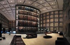 Beinecke Rare Book Library in Yale University, USA. Not much to look at from the outside BUT....here's the inside!