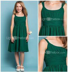 Knee-length Chiffon Junior Bridesmaid Dress - Dark Green Sheath/Column Scoop / Straps 2015 – $64.99