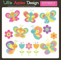 Butterfly Clip Art / Butterfly Clipart / by LittleApplesStudio, $5.00