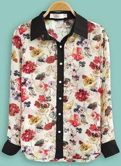 White Lapel Long Sleeve Floral Buttons Chiffon Shirt