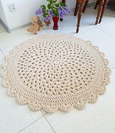 Promotion! Many Colors, Many Sizes , Handmade Large Crochet Rug, Washable Cotton Rug, Natural Carpet Cotton Cord Rug, Doily Rug, Modern Rug by madeofWeaves on Etsy