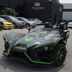 More pictures of this Polaris Slingshot... Lime Green Accents, original wheels painted, color ...