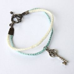 diy bracelet inspiration - Braided Blue and Cream Silver Key Friendship Bracelet with Toggle Clasp