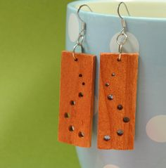 handmade wooden earings with circles