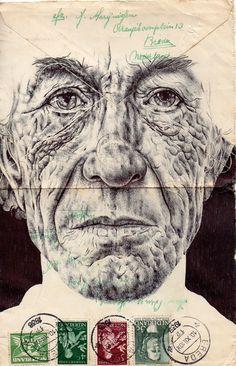 Mark Powell Bic Biro (ballpoint) Drawings on a vintage envelope. Biro Art, Biro Drawing, Drawing Faces, Portraits, Portrait Art, Portrait Ideas, Amazing Drawings, Art Drawings, Pencil Drawings