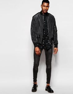 ASOS | ASOS Shirt In Longline With Long Sleeve With Hyrogliphics print at ASOS