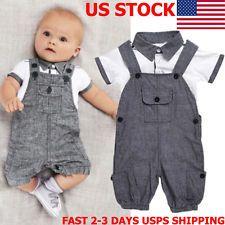2PCS Newborn Baby Boy Gentleman Outfits Clothes Shirt Tops+Bib Pants Jumpsuit US