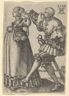 Heinrich Aldegrever | Dancing Couple, with the Male Figure Mid-Step, from The Small Wedding Dancers | 1538