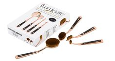 Makeup Brush Set 4 Pieces Antique Oval Rose Gold Soft Natural Flawless New #IluminateBeautyEssentials
