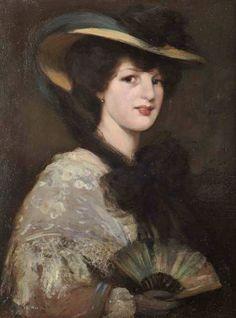 Lady with a Fan - Bessie MacNicol - (Scottish: 1869 - White Hats, Black Hats, Glasgow Girls, Glasgow School Of Art, Girl Artist, Art Girl, Illustration Art, Illustrations, Painting Of Girl