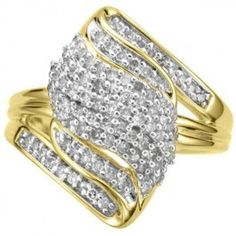 #jewelry #giftideas #Fashionnews #Womensfashion #Womensstyle #Fashion #Accessories #Gifts Diamondx.com Yellow Gold Plating over Sterling Silver 1/2 Carat Diamond Fashion Ring(K-L, I1-I2) Designed in France Free Shipping and 15% OFF