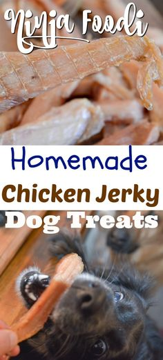 Ninja Foodi Chicken Jerky Treats for Dogs are perfect for your four-legged pooch. These chicken jerky treats for dogs are so easy to make, Dog Biscuit Recipes, Dog Treat Recipes, Dog Food Recipes, Family Recipes, Bread Recipes, Dehydrator Dog Treats, Dehydrator Recipes, Chicken Jerky Recipe, Dehydrated Chicken