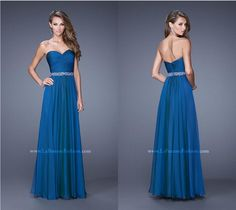 La Femme 20527 ~ strapless prom dress ~ long prom dress ~ blue chiffon dress ~ ruched bodice ~ embellished detail ~ sweetheart neckline ~