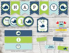 Whale Boy Party Package / DIY Party Printables by PapaCrabPaperie, $18.00