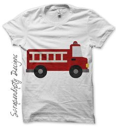 Iron on Fire Truck Shirt PDF - Red Fire Engine Iron on Transfer / Kids Baby Boys Clothing One Pieces / Toddler Boys Shirt / Clothes by ScrapendipityDesigns, $2.50