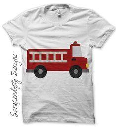 Iron on Fire Truck Shirt PDF  Red Fire by ScrapendipityDesigns, $2.50