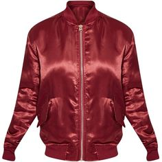 Cruz Burgundy Satin Bomber Jacket ❤ liked on Polyvore featuring outerwear, jackets, tops, satin bomber jackets, red bomber jacket, bomber jacket, burgundy bomber jacket and blouson jacket