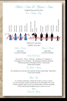 DIY Wedding Programs Templates | Silhouette Wedding Programs DIY Customizable Instant Download TEMPLATE ...