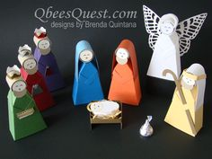 Qbee's Quest: Hershey's Nativity Part One (card stock and Hershey Kisses! Diy Nativity, Christmas Nativity, Christmas Ornaments, Christmas Jesus, Nativity Sets, Diy Ornaments, Christmas Paper Crafts, Christmas Projects, Christmas Holidays
