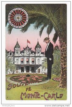 Monaco, Souvenir de Monte Carlo, Casino, Jeux d´argent, Anti-jeu, Suicide, Pendaison, Humour Noir, Macabre Carte Postale