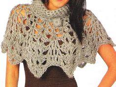 Capa de picos - chunky beige crochet capelet - FREE pattern