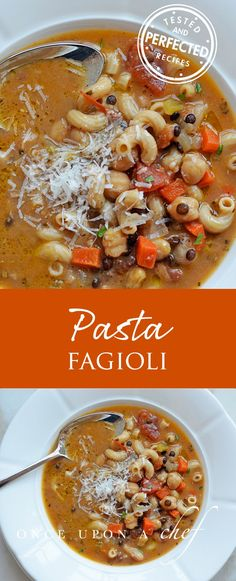 Pasta E Fagioli Is A Heartwarming Italian Soup, Perfect For A Chilly Night. The Soup Has Tremendous Depth Of Flavor, And The Broth Is Thickened Slightly With Pured Beans, Which Makes It Rich And Satisfying. Serve It With Rosemary Focaccia And A Big Itali Pasta Recipes, Soup Recipes, Cooking Recipes, Chili Recipes, Fall Recipes, Delicious Recipes, Cooking Tips, Vegetarian Recipes, Recipies