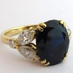 Bague saphir diamants navette 1415