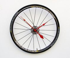 Bike Wheel Clock Cyclist Gift Large Wall Clock Unique