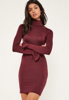 Burgundy High Neck Flared Cuff Bodycon Dress Misguided Fashion, Next Dresses, Day Dresses, Dress Silhouette, Flare Skirt, Missguided, New Dress, Burgundy, Bordeaux