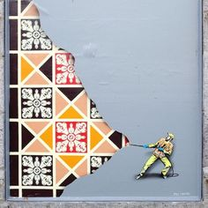 Tiny Street Murals by 'Jaune' Unveil a World of Miniature City Workers   Colossal