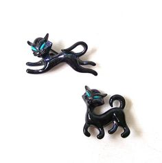 vintage 1950's pair black cat brooches pins by RecycleBuyVintage, $20.00