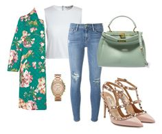 """""""Untitled #51"""" by cheekybonbons on Polyvore featuring Michael Kors, Canvas by Lands' End, Frame Denim, Valentino, Fendi, Gucci, floral, pants and coat"""