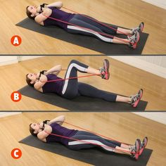 Sit on the floor, hook the band around one foot, then lie down and wrap the band around your triceps and hold the handles at your collarbone (A). Raise the foot with the band slightly and slowly allow the leg to bend to a right angle (B). Press forward against the band for one rep, without locking your knee (C). Do on other side. SINGLE-SIDE LEG PRESS