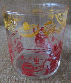 Hazel Atlas Mexican Sombrero Siesta Sour Cream/Cottage Cheese Pint Glass RARE