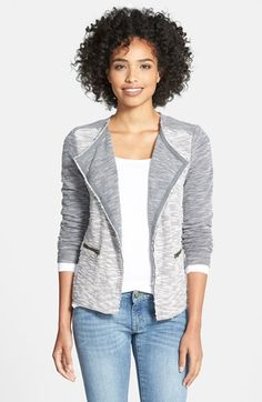 Caslon® Herringbone Pattern Knit Jacket (Regular & Petite) available at #Nordstrom